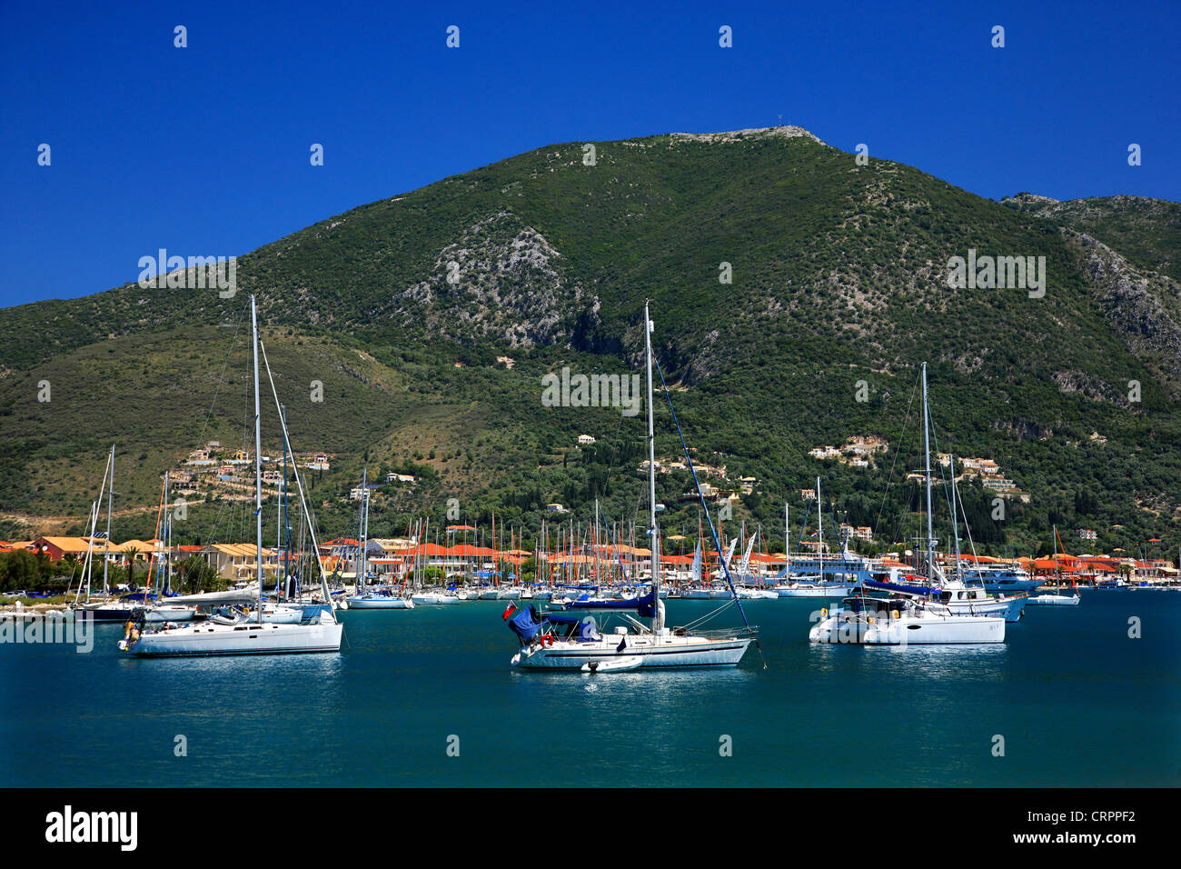 Nydri town and Vlychos bay, very popular anchorage for skippers, Lefkada (or 'Lefkas') island, Ionian sea, - Stock Image