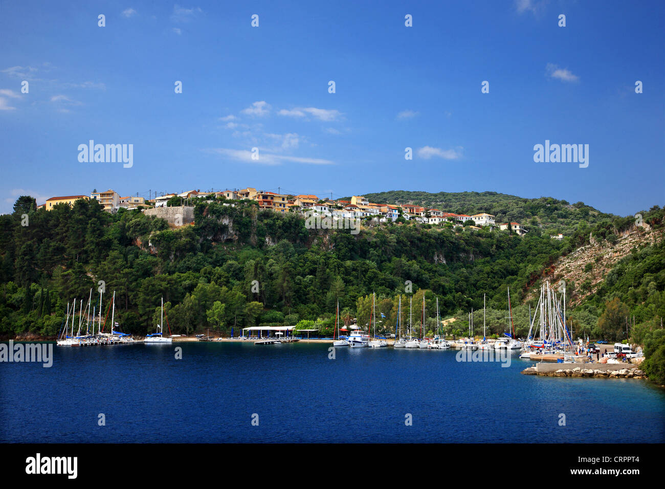 Yachts at the marina in Spilia bay, close to Spartochori village, Meganisi island (Lefkada prefecture), Ionian sea, - Stock Image