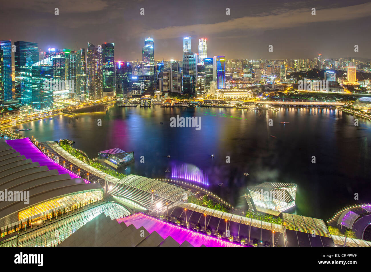 Elevated view over Singapore City Centre and Marina Bay, Singapore, South East Asia - Stock Image