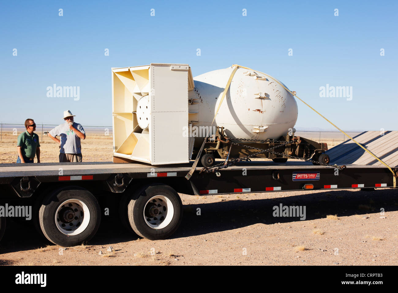 'Fat Man' atomic bomb casing on display at Trinity site in New Mexico, site of the world's first nuclear - Stock Image