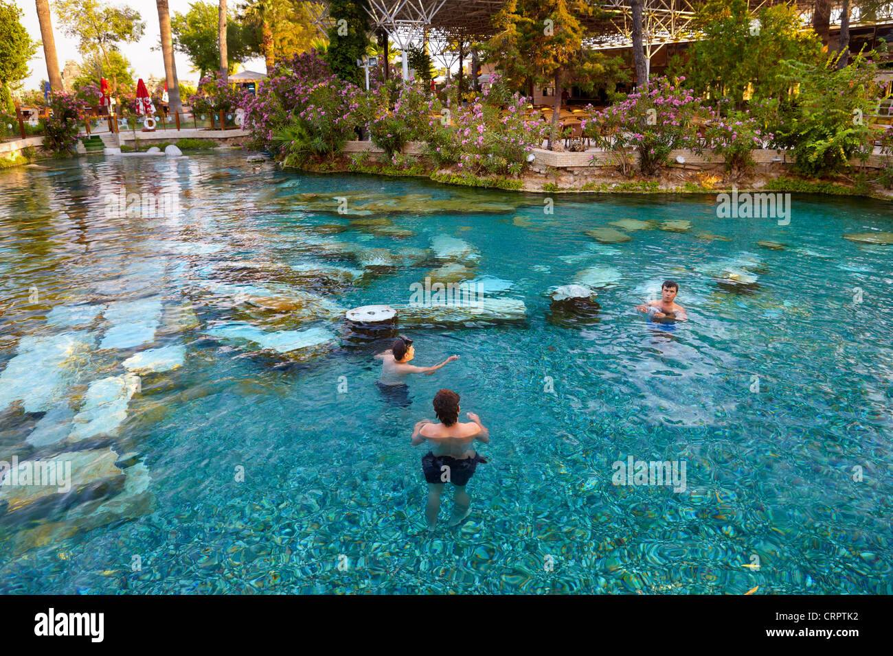 Hierapolis - Turkey, ruins of the ancient city, sacred pool of Cleopatra, UNESCO - Stock Image