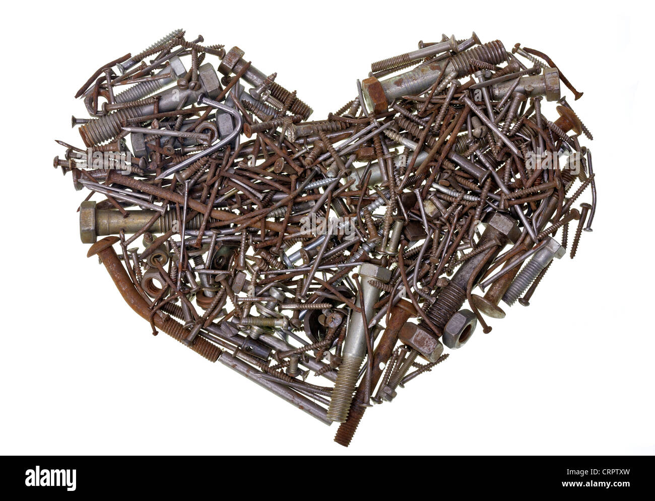 The heart of the old machine is made of rusted bolts and nails isolated concept Stock Photo