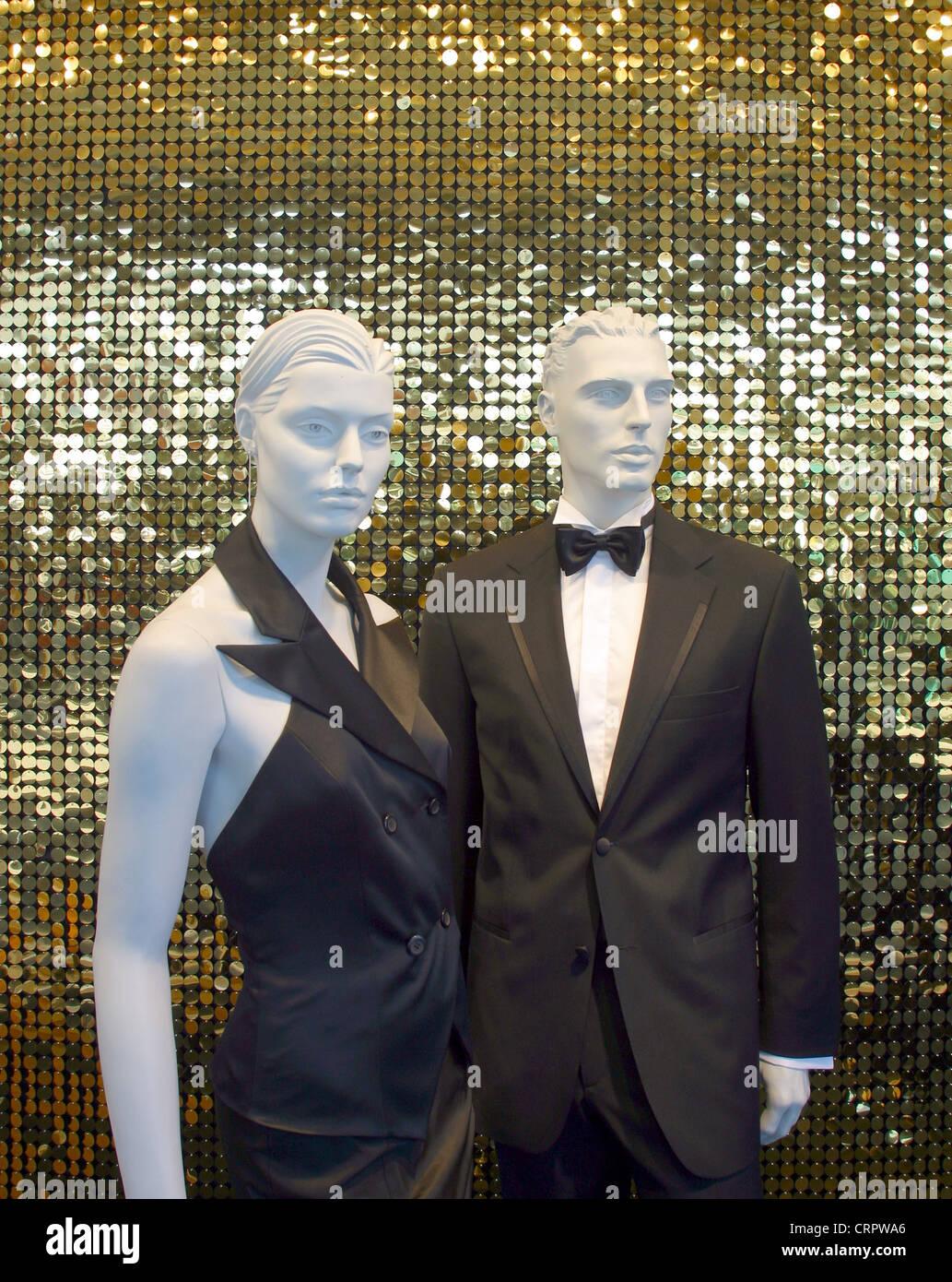 Mannequins in a black dress uniform - Stock Image