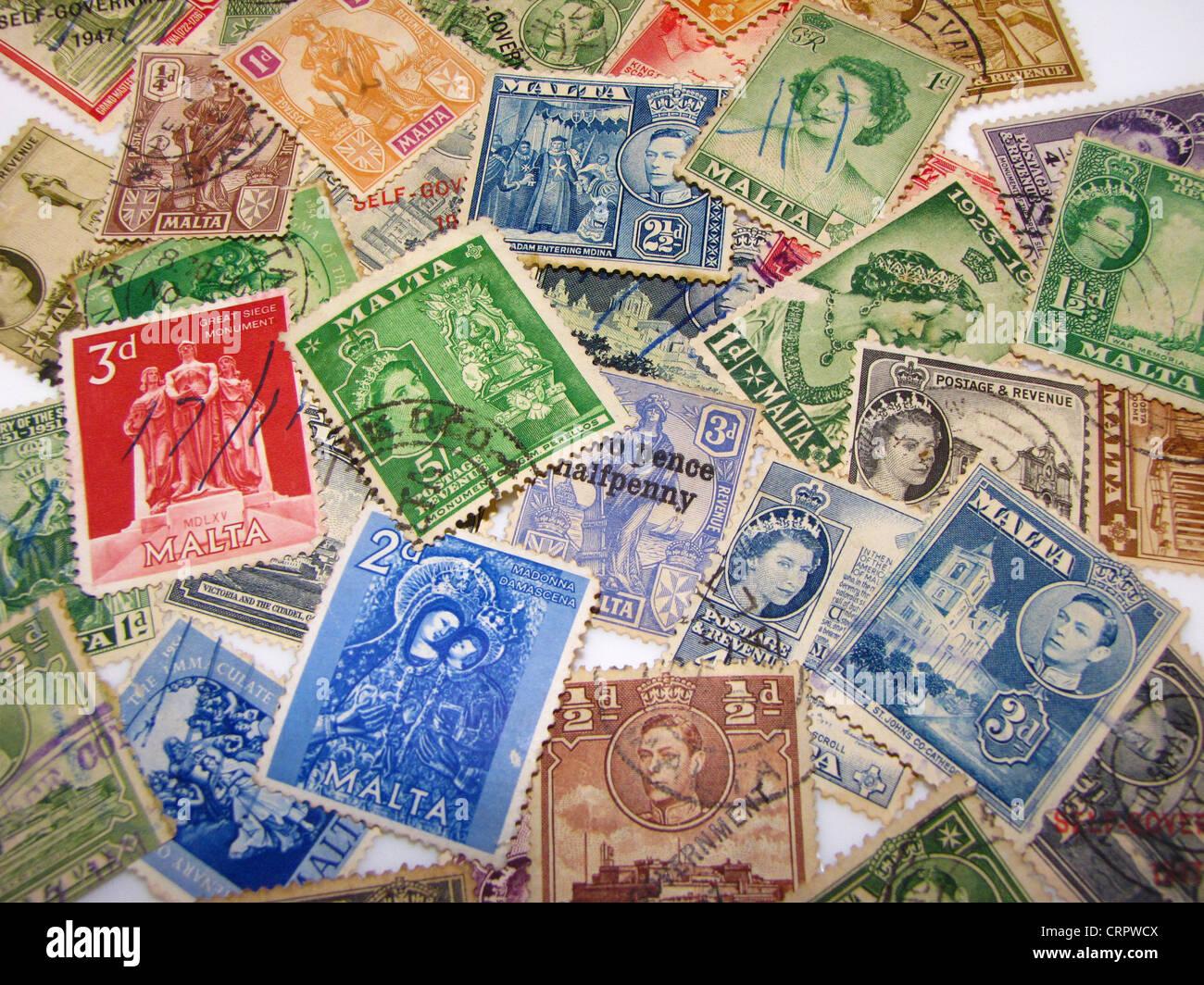 Maltese Vintage Stamps - Stock Image