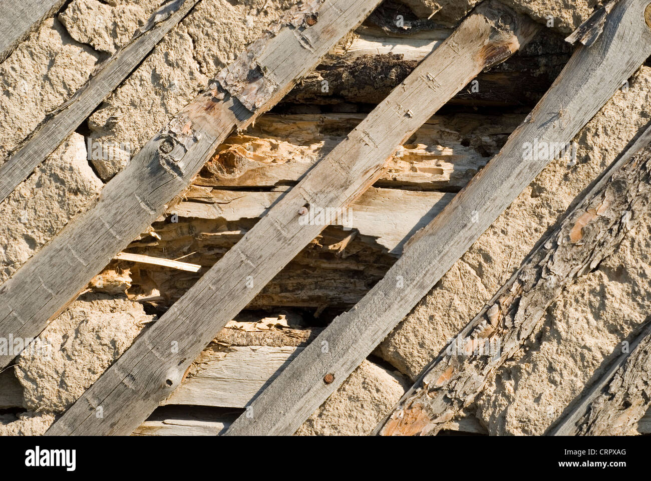 close up view of a broken wall great as a background - Stock Image