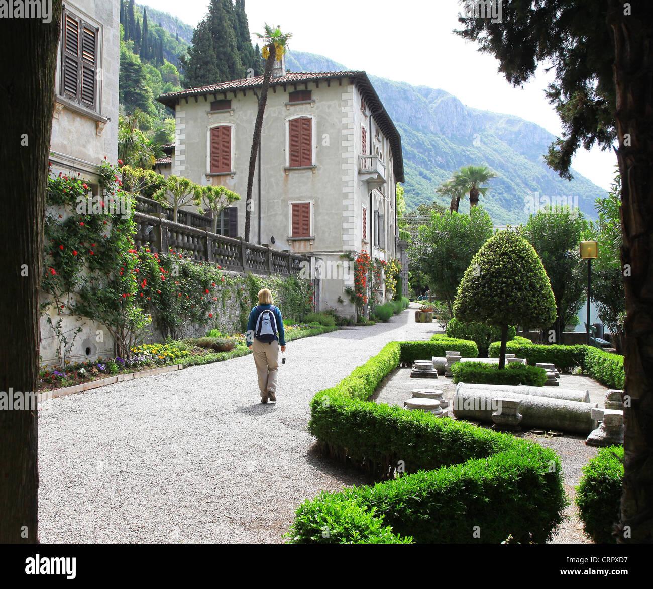 The gardens of Villa Monastero Varenna Lake Como Italy - Stock Image