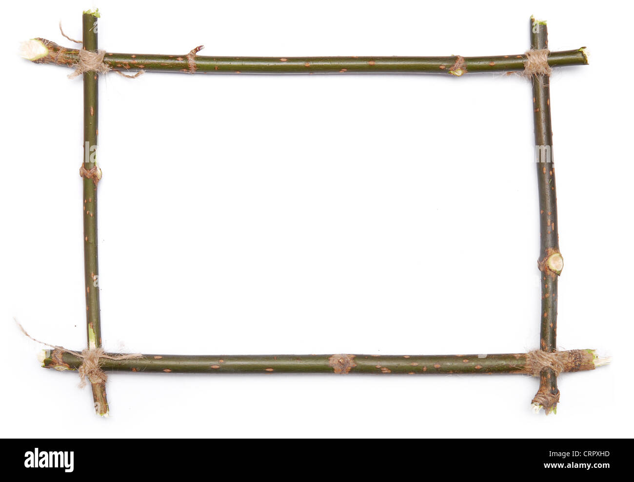 twig frame over white background - Stock Image