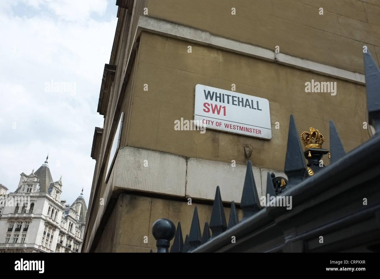 Whitehall street sign, London SW1 - Stock Image