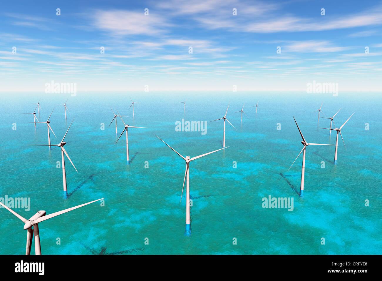 Wind Farm in the Sea  3D render Stock Photo