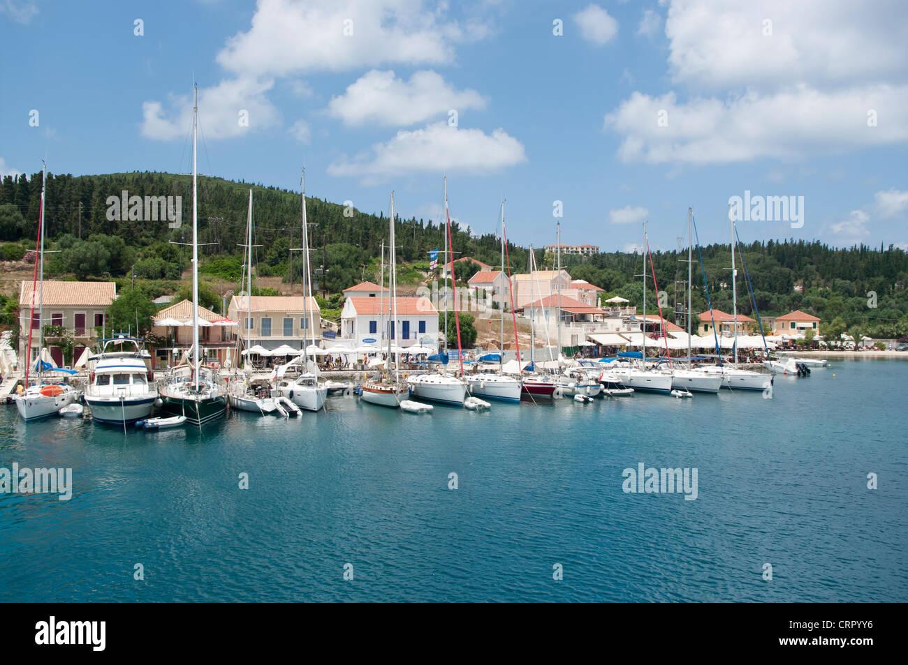 Yacht Harbor, Fiskardo, Kefalonia, Ionian Islands, Greece - Stock Image