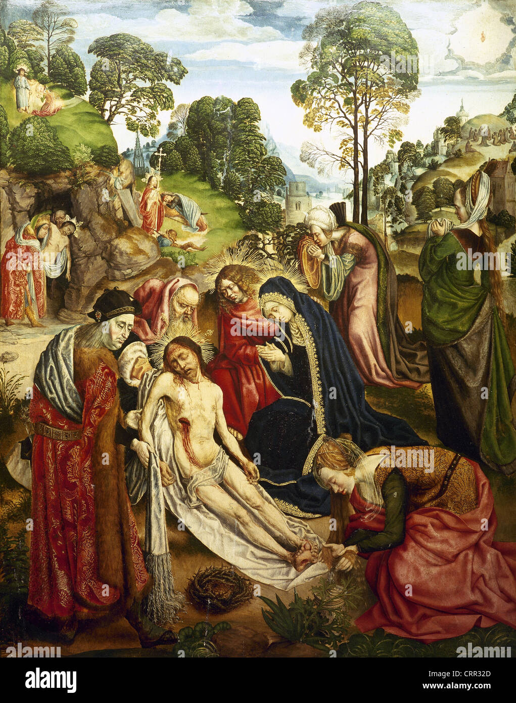 The Aachen Passion Altar. 1505-1510. By the Master of the Altars of Aachen. Detail. Lamentation of Christ. Right - Stock Image