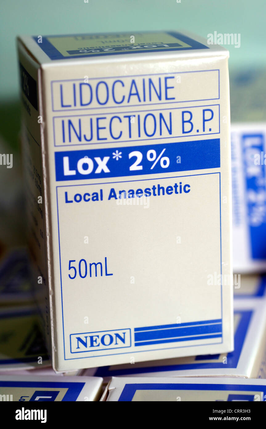Lidocaine Injection; used to treat irregular heartbeats (arrhythmias). - Stock Image