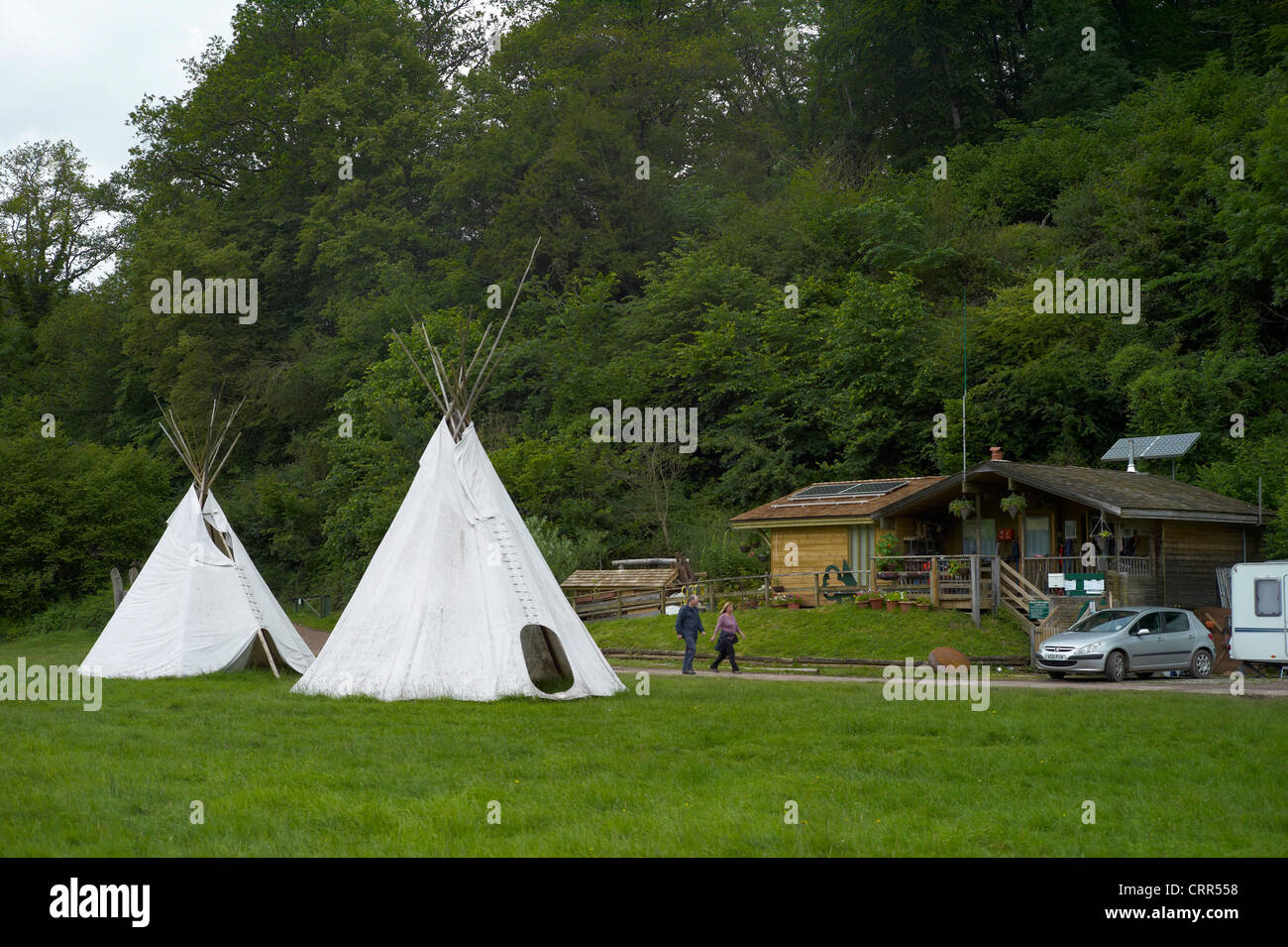 Tipis at The Biblins youth camp near Symonds Yat in the Wye Valley Herefordshire England - Stock Image