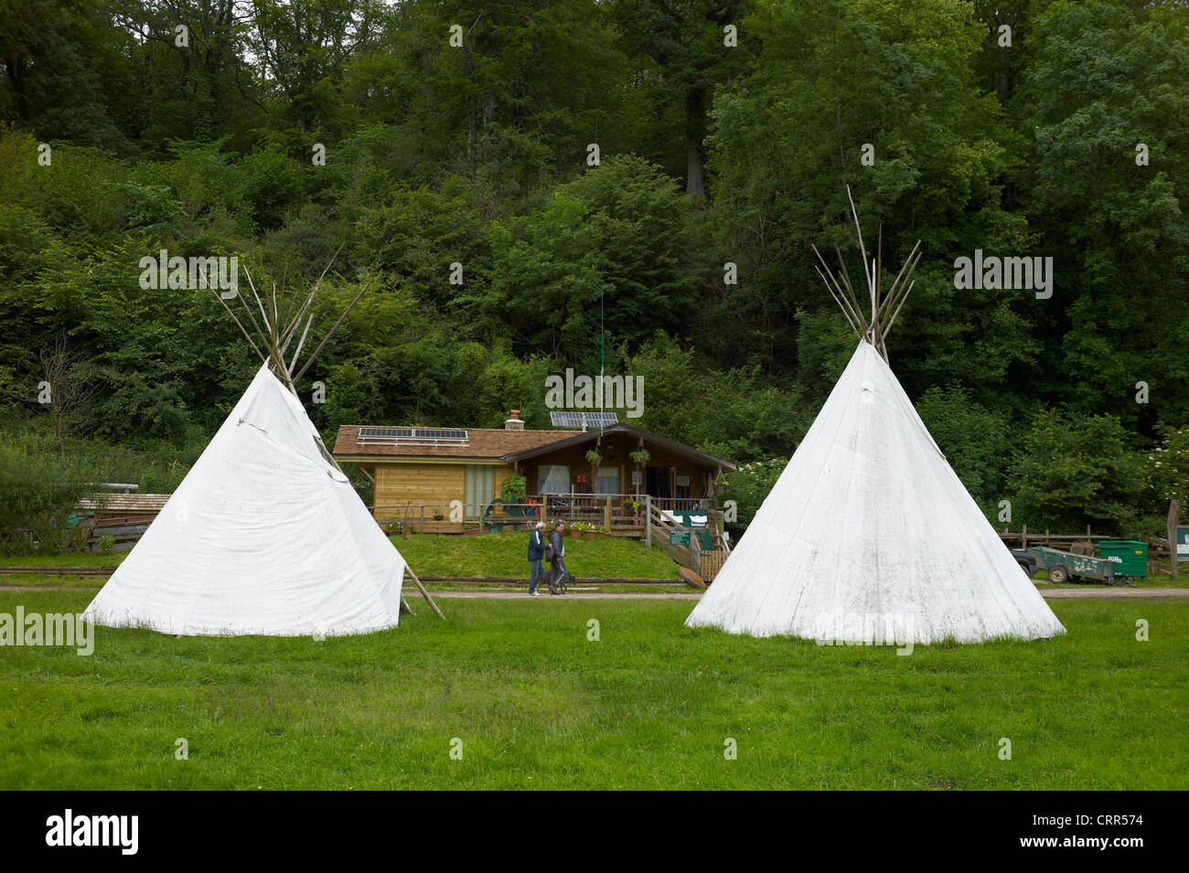 Tipis at The Biblins youth camp near Symondsy Yat in the Wye Valley Herefordshire England - Stock Image