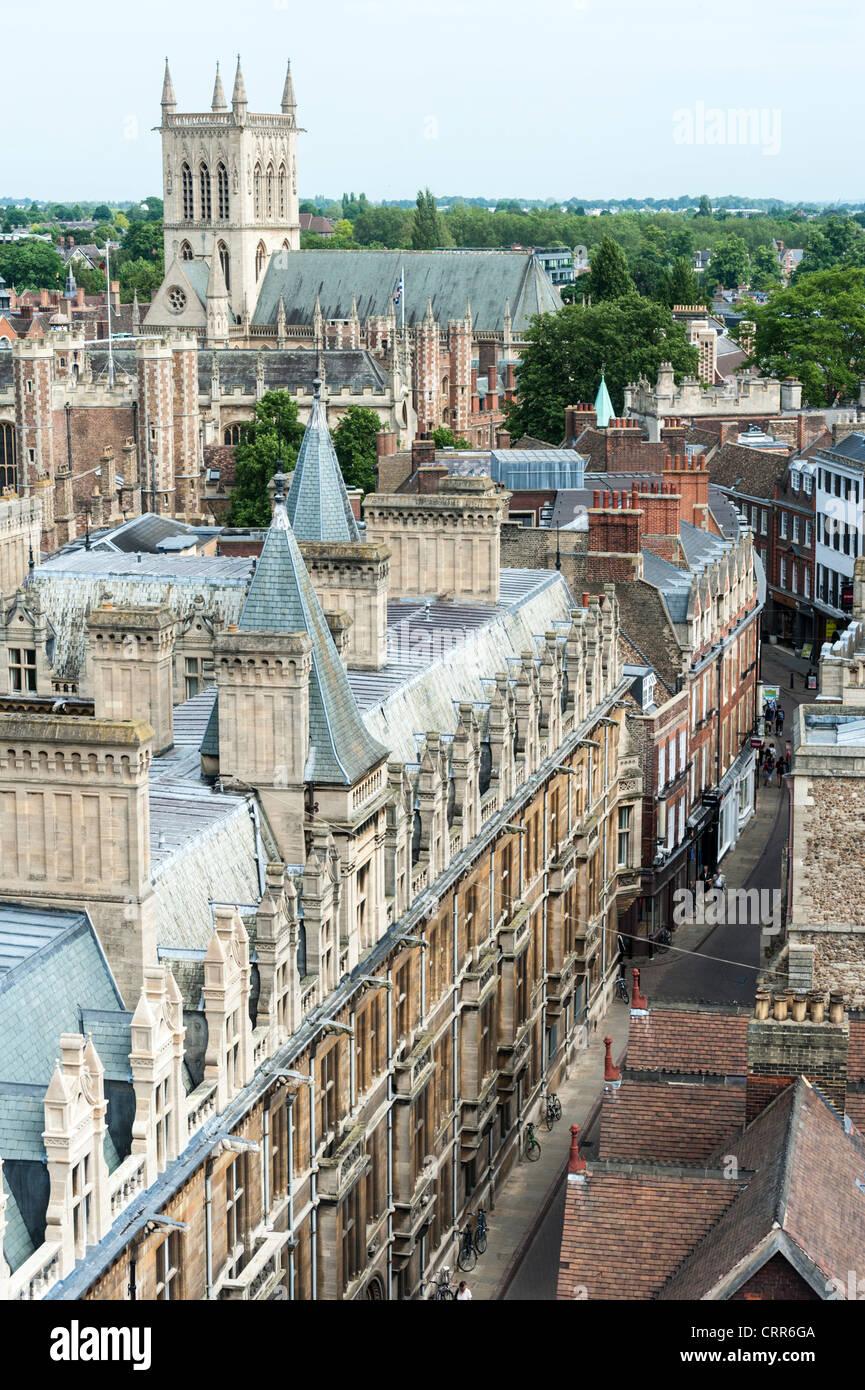 Aerial view of Trinity Street Cambridge UK - Stock Image