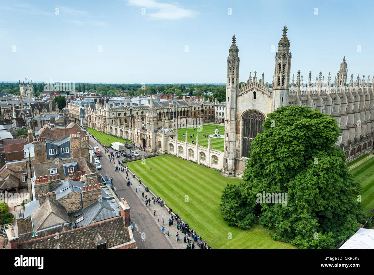 Kings College Chapel and kings Parade Cambridge UK. Part of Cambridge University. Aerial view - Stock Image