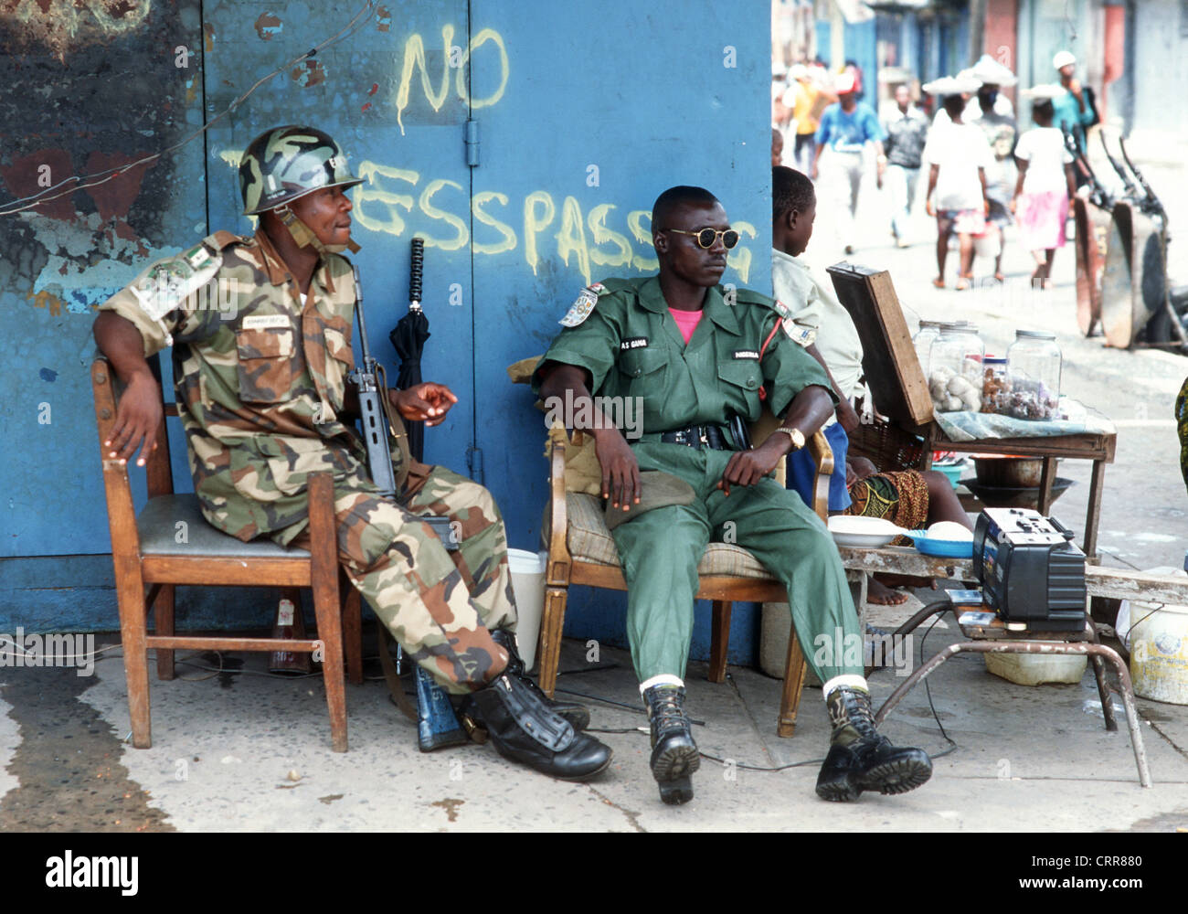 Liberia, a checkpoint of the ECOMOG peacekeeping force in Monrovia - Stock Image