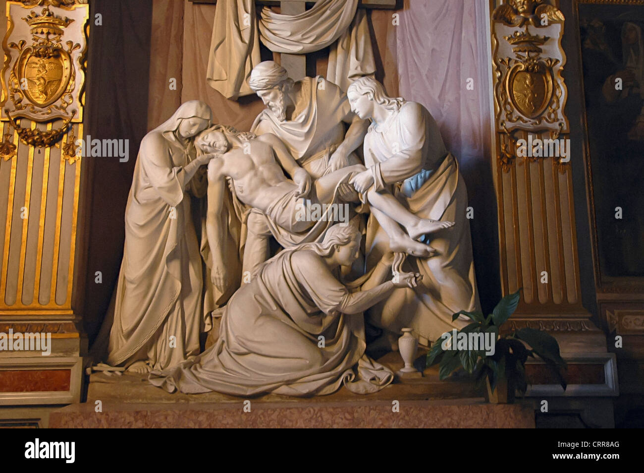 Europe  Italy Lazio Latium Rome Spanish Steps Church of the Holy Trinity on the Hill Statue of the Deposition of Stock Photo