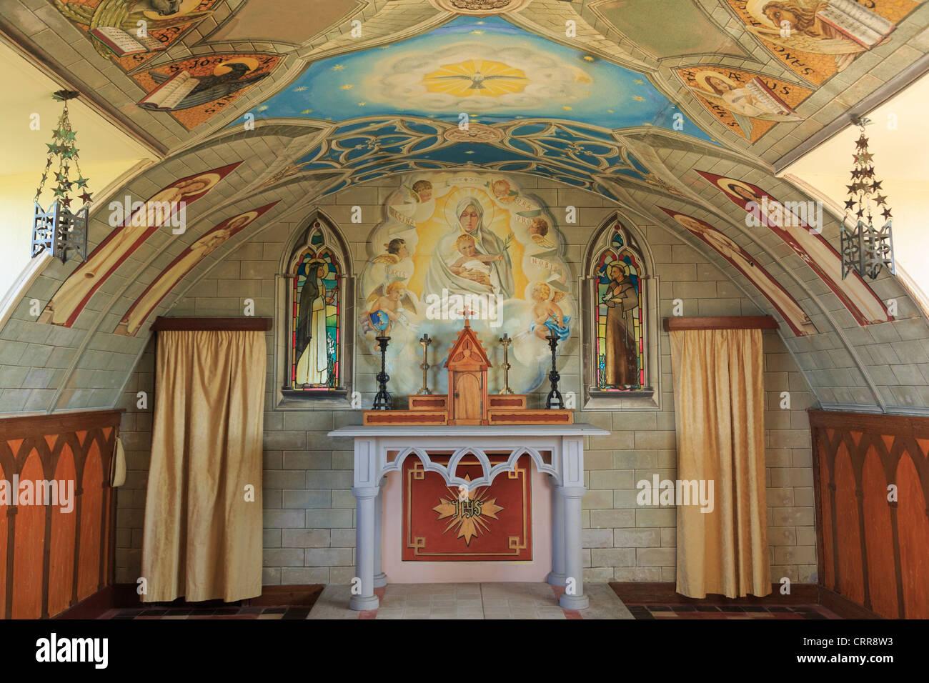 Italian Chapel ornate interior built from 2 Nissen huts by Italian prisoners of world war II on Lamb Holm, Orkney, - Stock Image