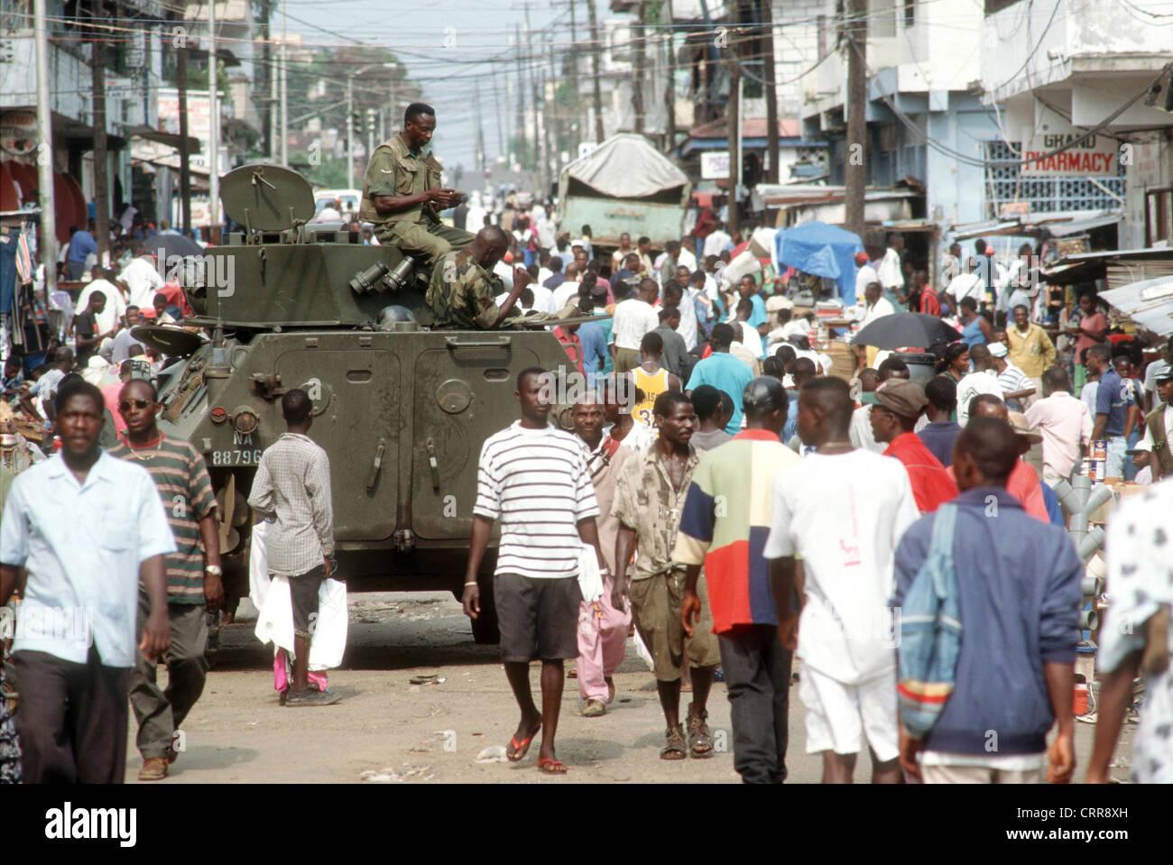 Liberia, ECOMOG peacekeepers in Monrovia. - Stock Image