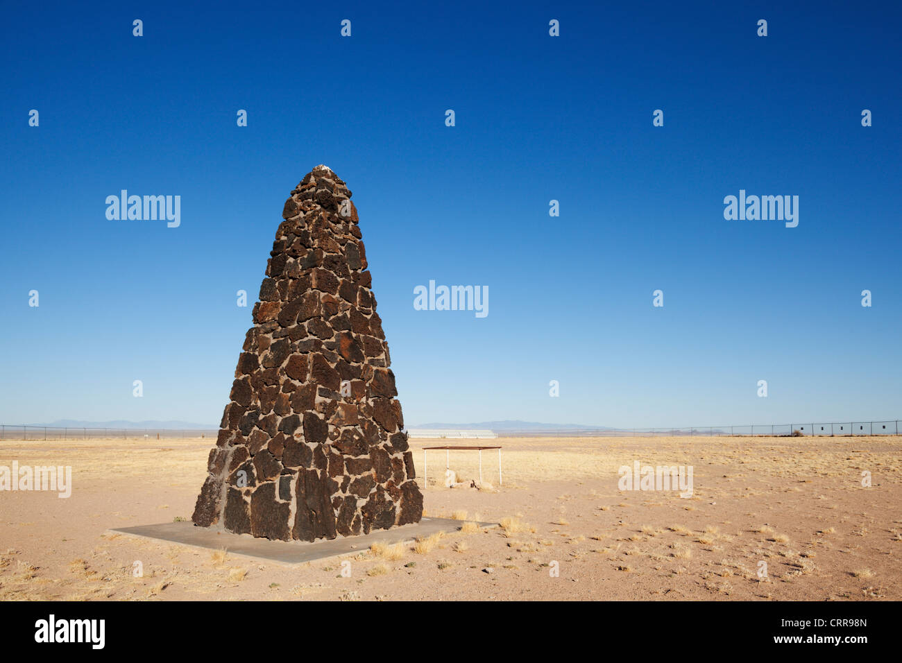 An obelisk in remote New Mexico marks Trinity Site, where the world's first nuclear bomb was tested in 1945. - Stock Image