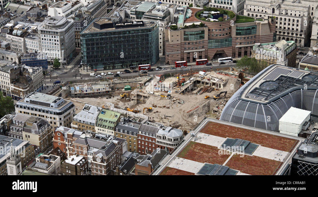 aerial view of development site & archaeological dig on Cannon Street, London EC4 - Stock Image