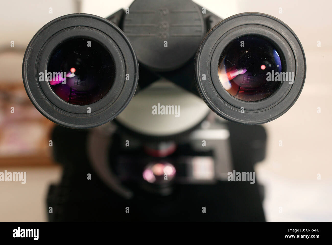 The viewing lens of a microscope. - Stock Image