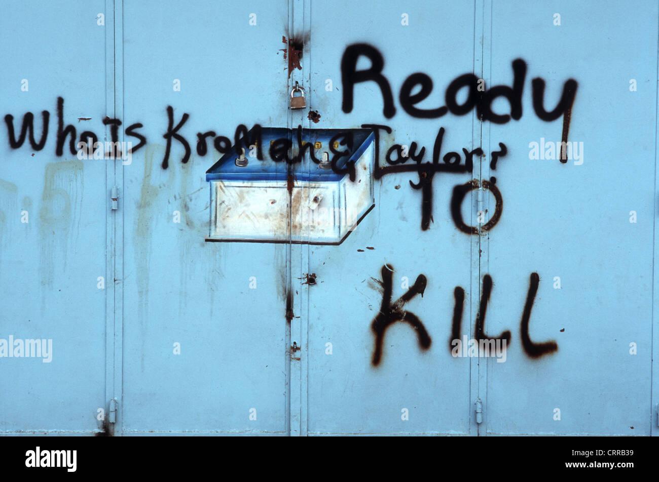 Liberia, graffiti in Monrovia, Ready to Kill - Stock Image