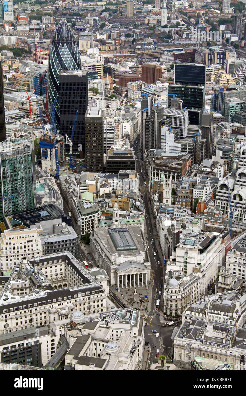 aerial view of the Royal Exchange, and Bank of England, looking up towards the City and Gerkin - Stock Image