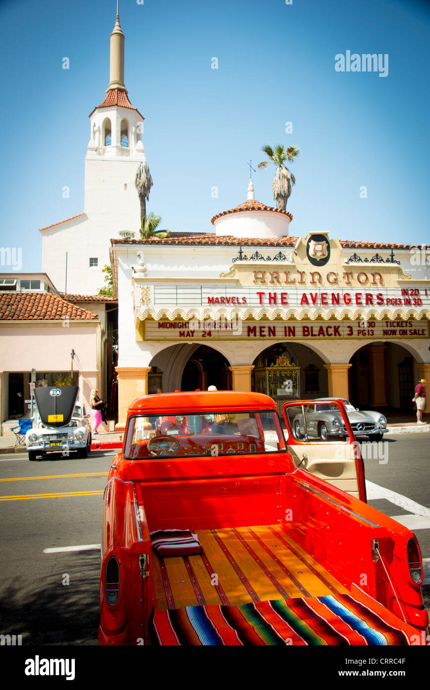 Antique and classic vintage automobile car show along State Street in downtown Santa Barbara Central California - Stock Image
