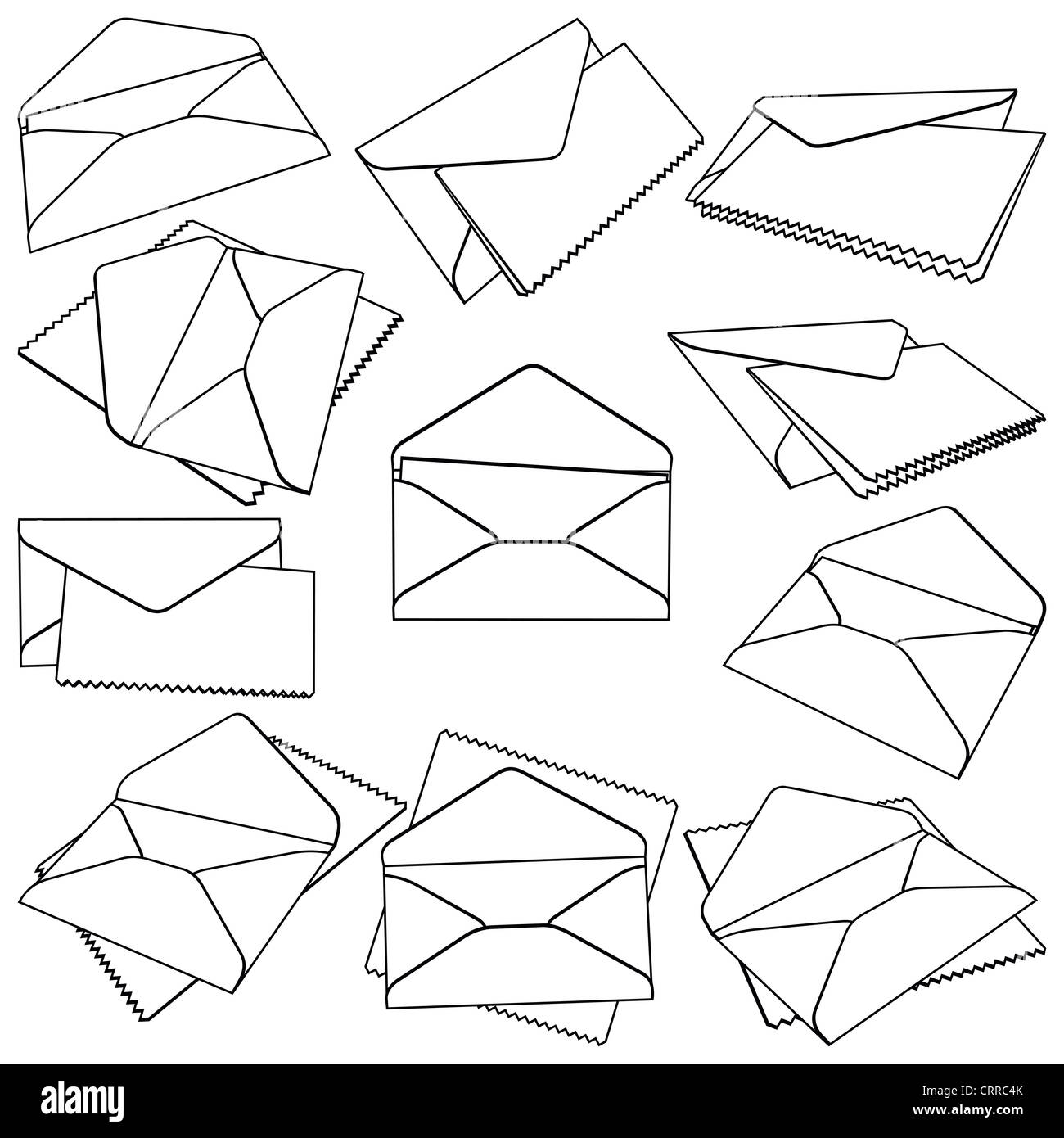 Set of open Envelopes - Stock Image