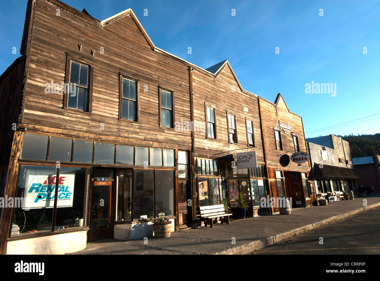 Main Street of historic coal mining town of Roslyn Washington State; used as set of TV series Northern Exposure - Stock Image