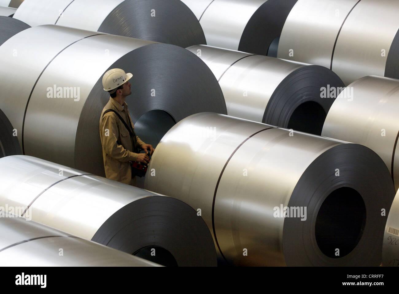 Hot dip galvanized steel coils in ThyssenKrupp Huettenwerk, Duisburg - Stock Image