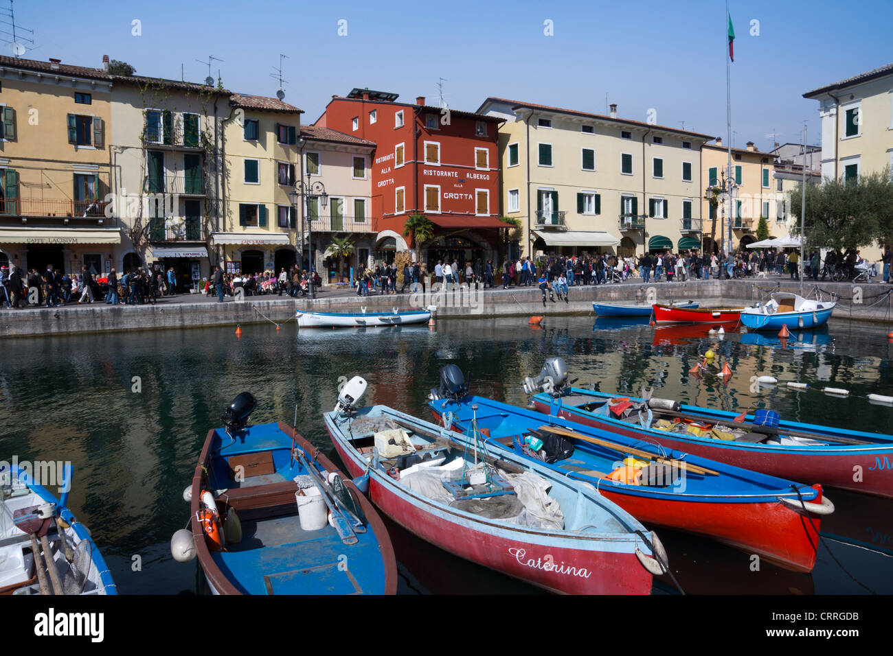 Boats in the harbour, Lazise, Lake Garda, region Veneto, province Verona, Italy, Europe Stock Photo