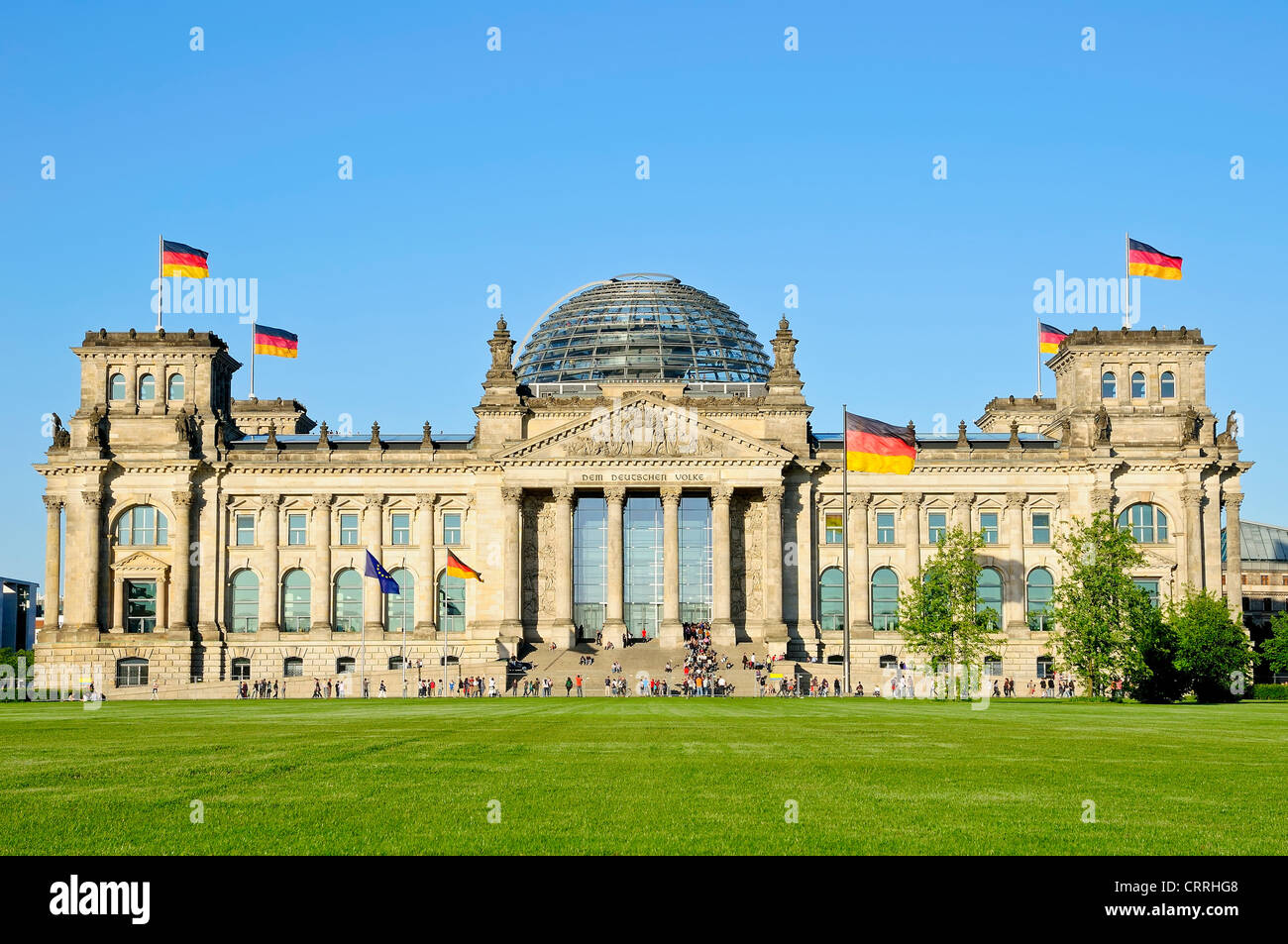 Bundestag (Reichstag) in Berlin on a beautiful sunny day - Stock Image