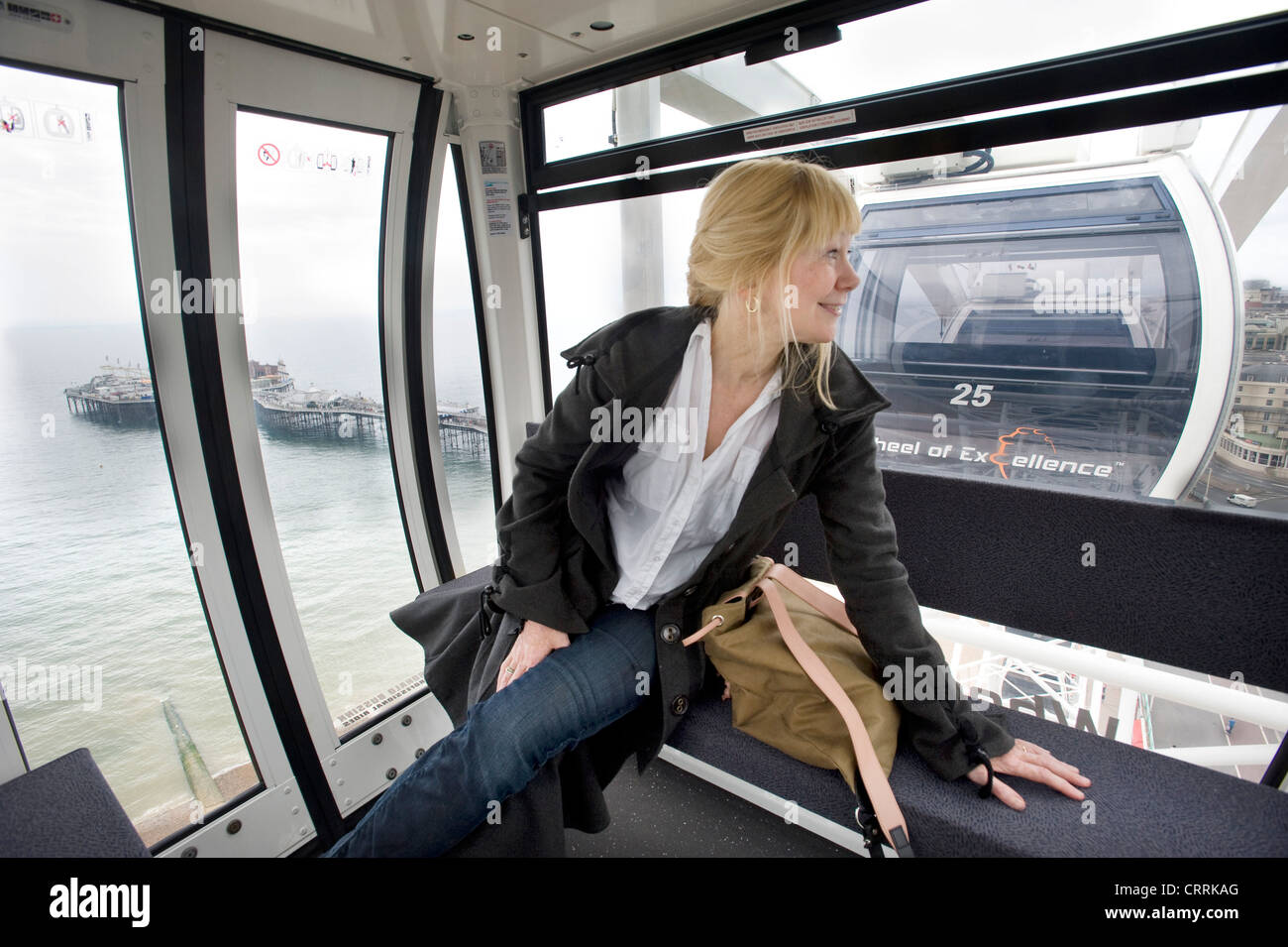 The Brighton Eye Ferris Wheel on Brighton seafront. A woman sightseer in one of the pods overlooking the beach and - Stock Image