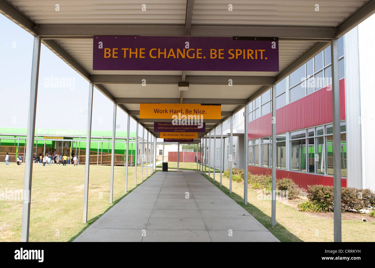 Signs with positive phrases on campus of KIPP Sunnyside High school, a public charter school in Houston, Texas - Stock Image