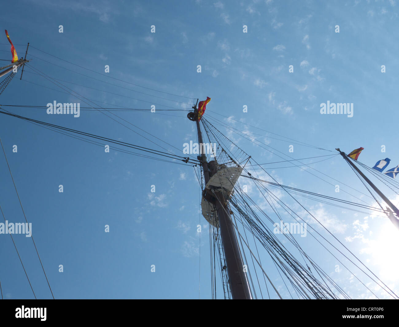 Low angle of the mast and rigging of a tall ship, OpSail / Fleet Week, Brooklyn, New York, 2012 - Stock Image