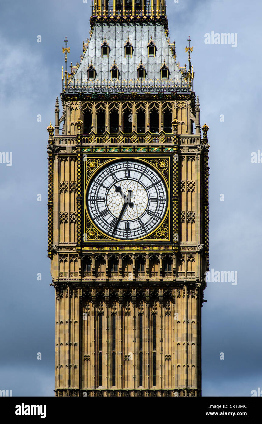 LONDON, UK - Big Ben with Dark Clouds 169-093524566 The clock of Elizabeth Tower (commonly known as Big Ben) at - Stock Image