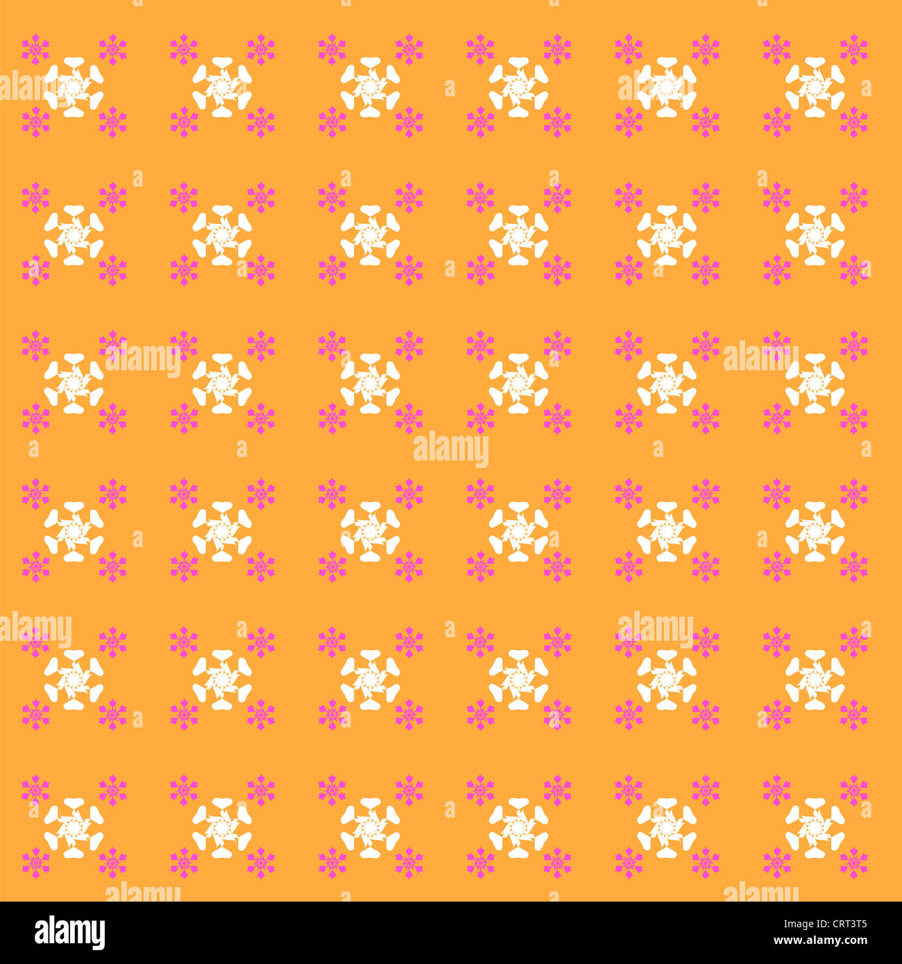 Seamless floral pattern on orange Stock Photo