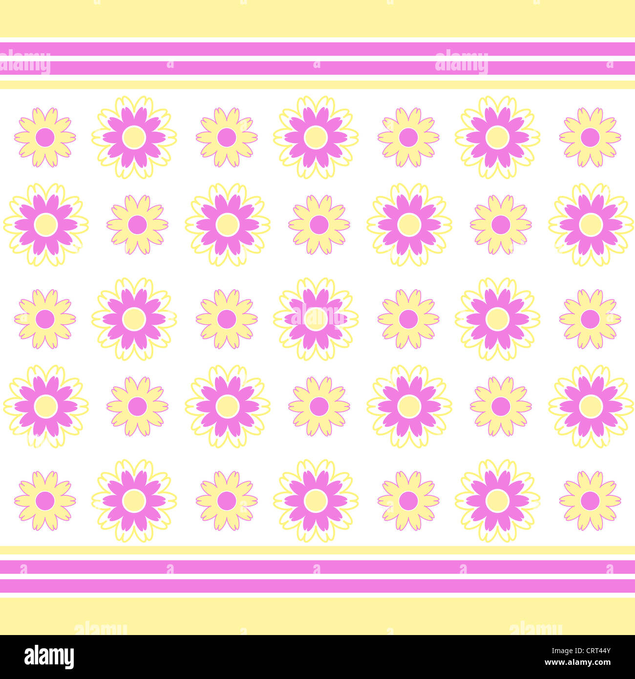 Flowers and stripes pattern in yellow and purple Stock Photo