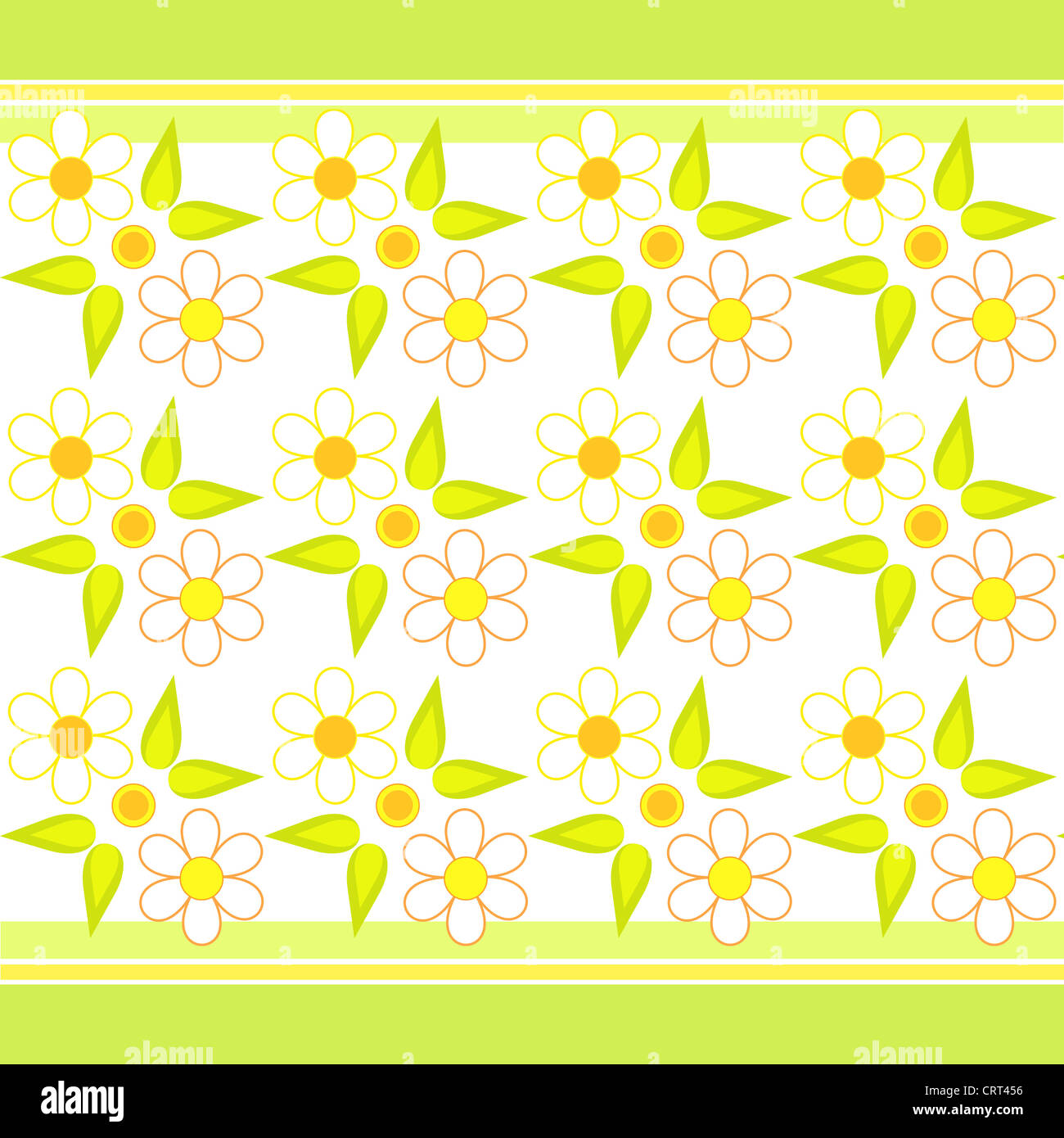 Flowers and stripes pattern in yellow and green Stock Photo