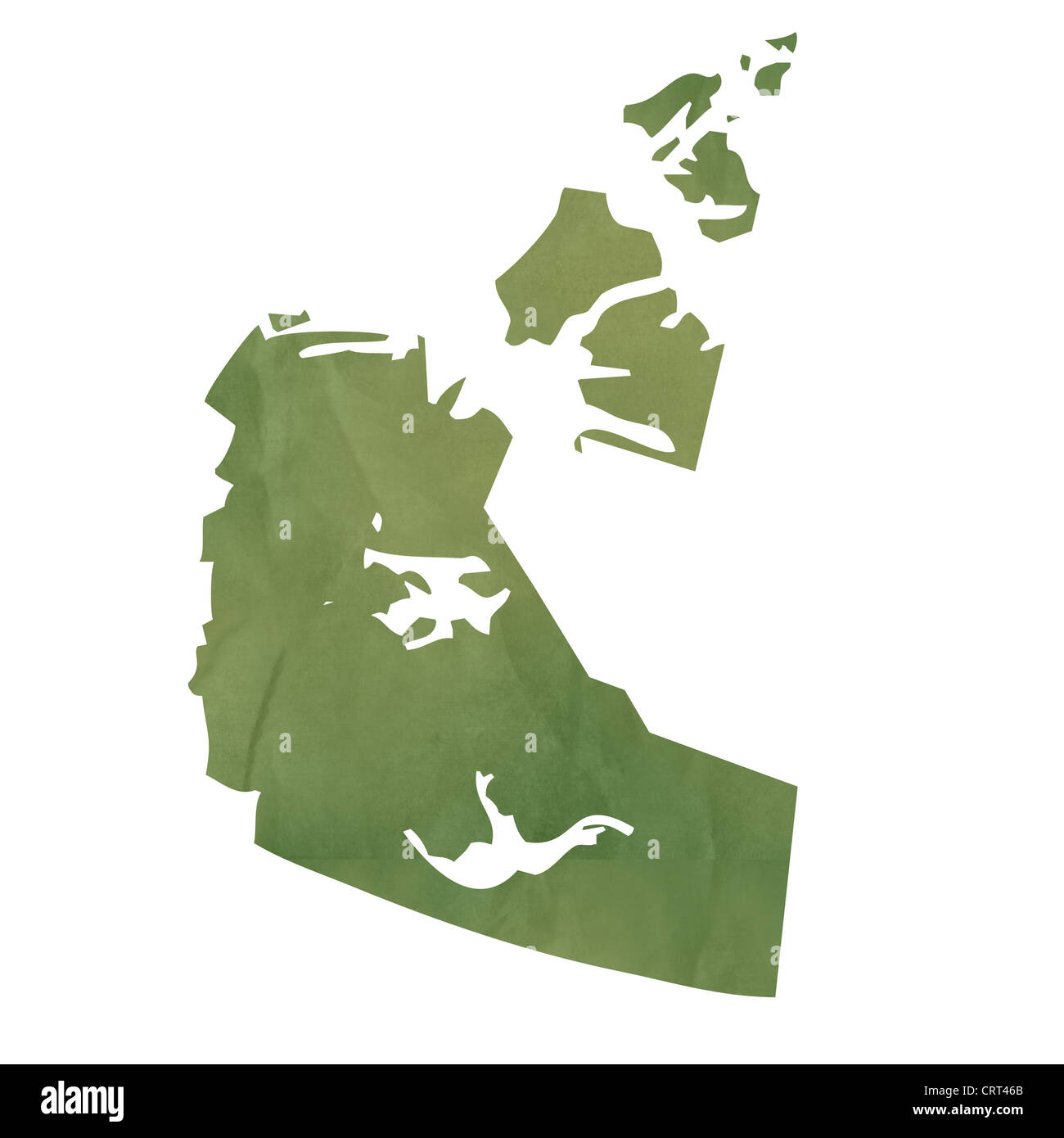 northwest territories province of canada map in old green paper isolated on white background