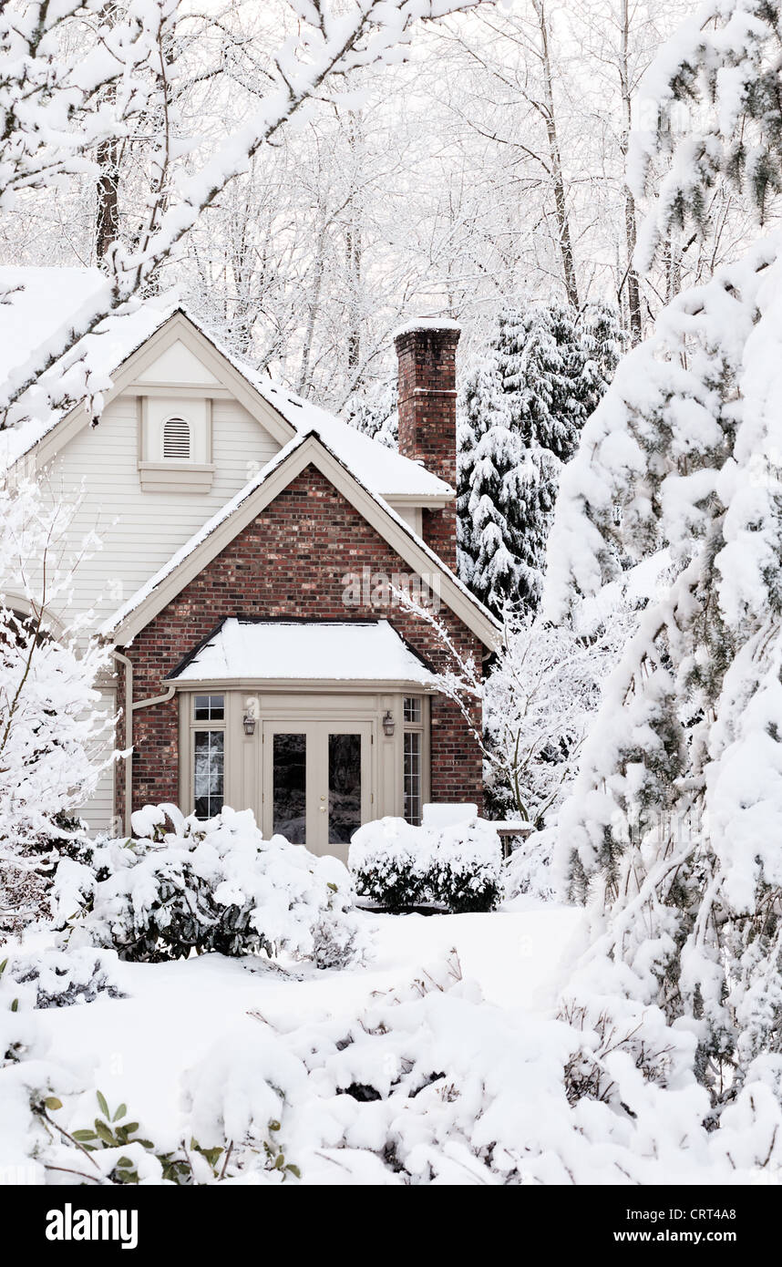 Snowbound house, seemingly buried, the morning after a snowstorm - Stock Image