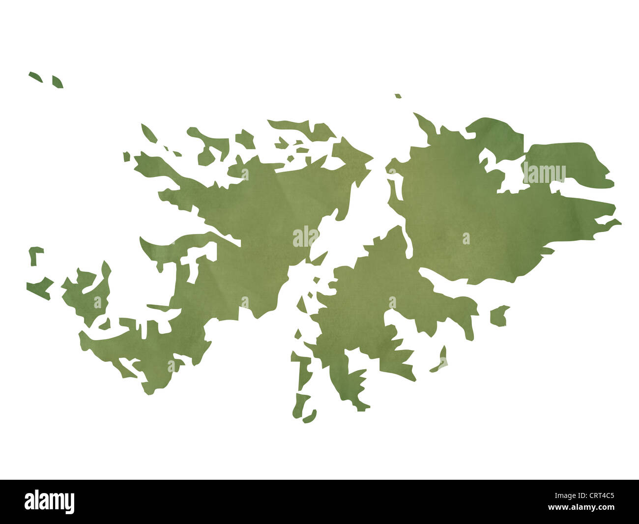 Old green paper map of Falkland Islands isolated on white background - Stock Image