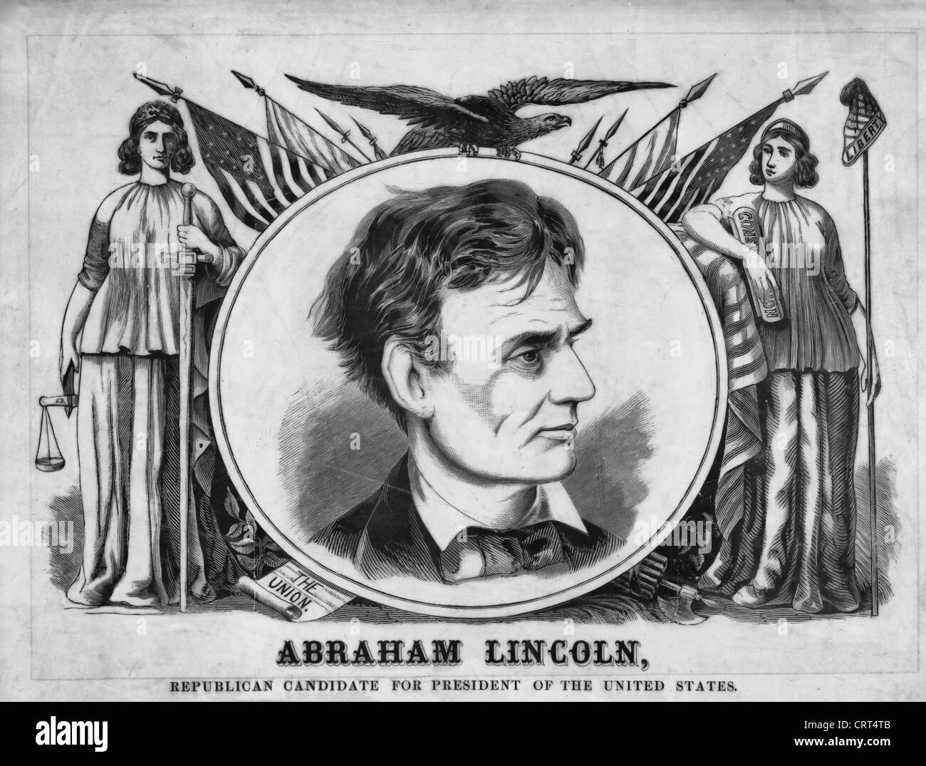1860 USA Presidential Campaign Poster featuring Republican Presidential candidate Abraham Lincoln - Stock Image