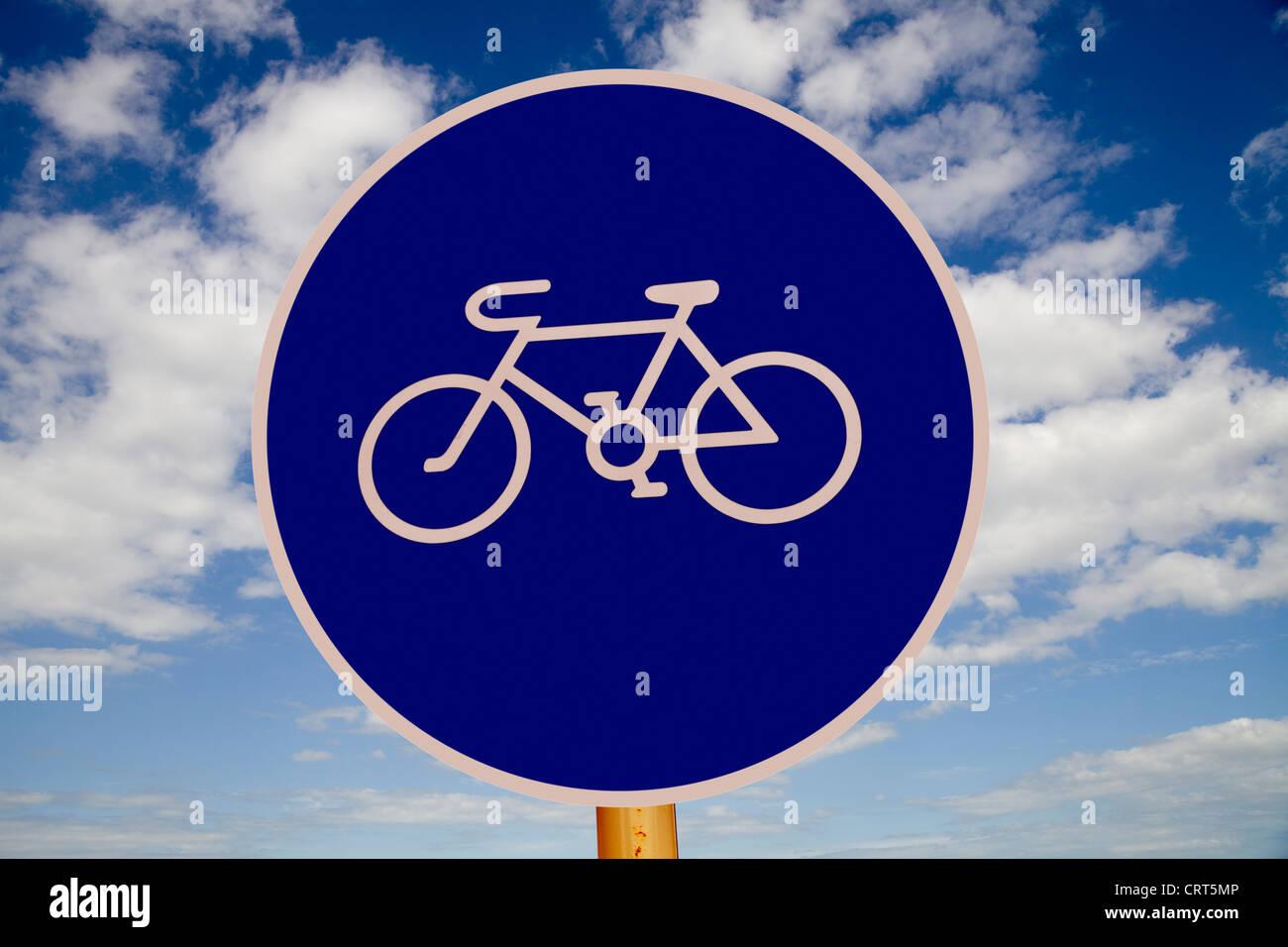 An urban cycle lane sign in Sofia, Bulgaria - Stock Image