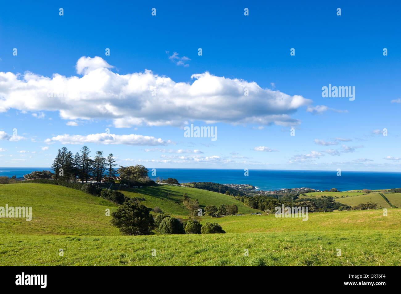 Pastureland near Kiama, New South Wales, Australia - Stock Image