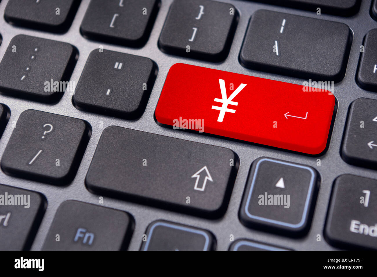Japanese Yen Symbol On Keyboard To Convey Forex Trading Or Online