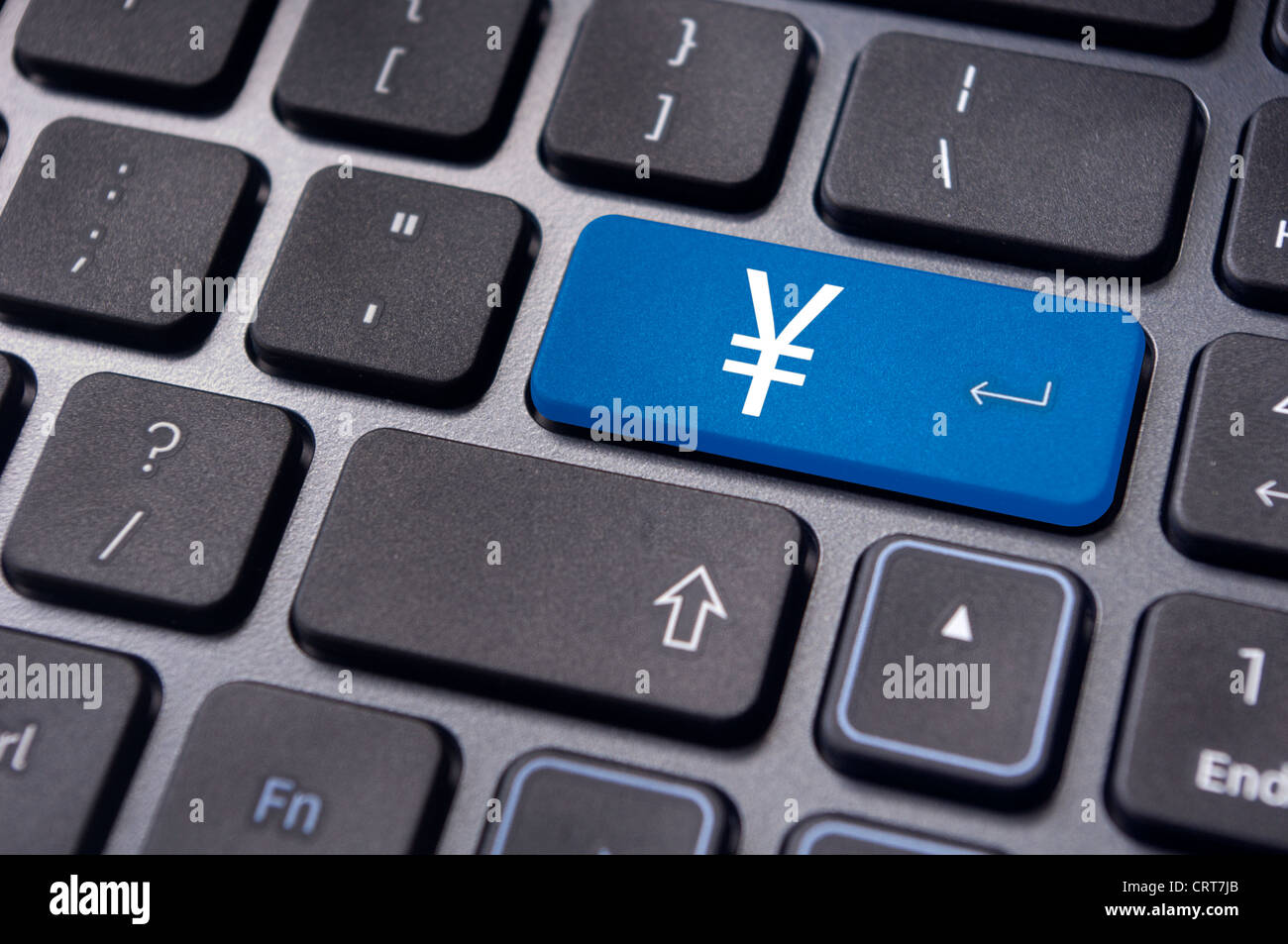 japanese yen symbol on keyboard, to convey forex trading or online trading of currency - Stock Image